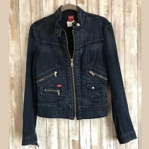 Miss Sixty Jean Jacket SZ S Denim Zipper Dark Blue